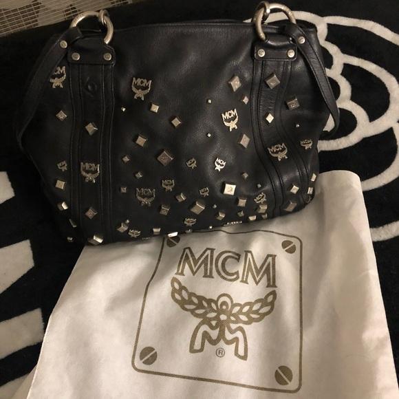 2764fdf0f10 Mcm shoulder bag with silver logo emblems